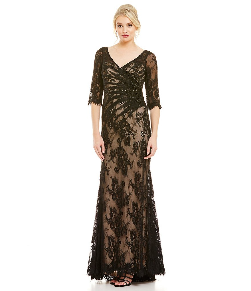 MGNY Madeline Gardner New York Rouched Illusion Lace Gown