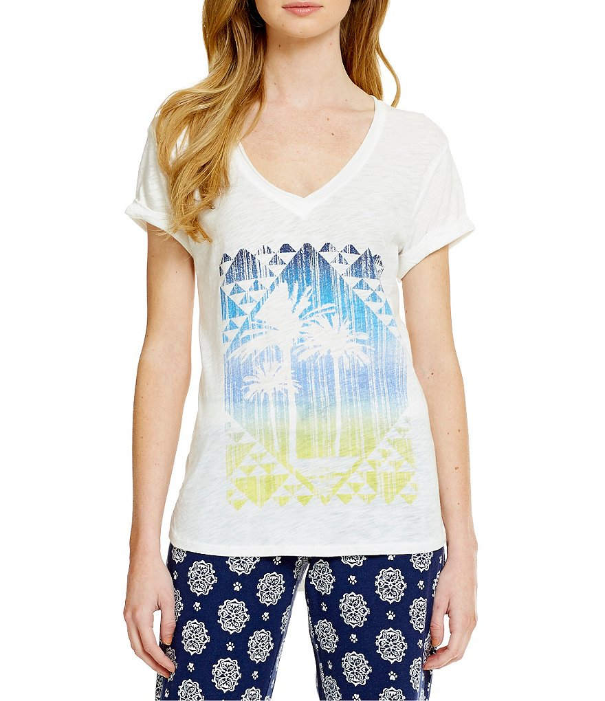 PJ Salvage Coastal Blues Palm Trees Sleep Top