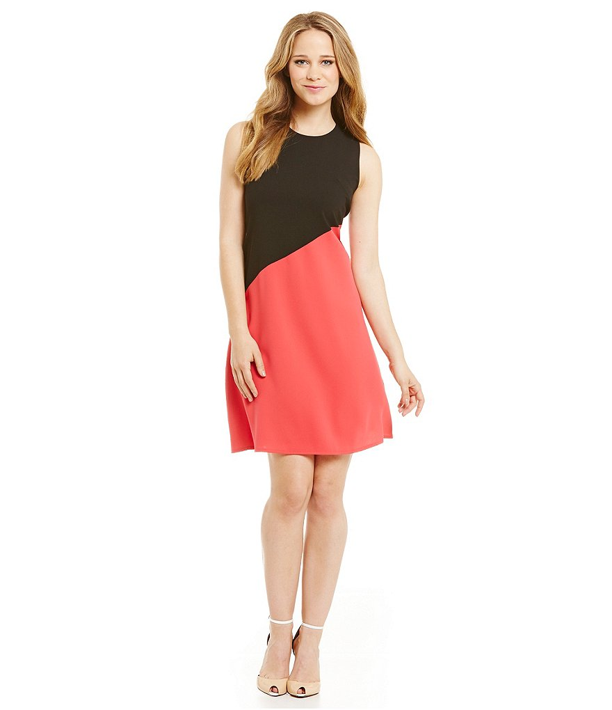 Calvin Klein Asymmetrical-Hem Colorblock Dress