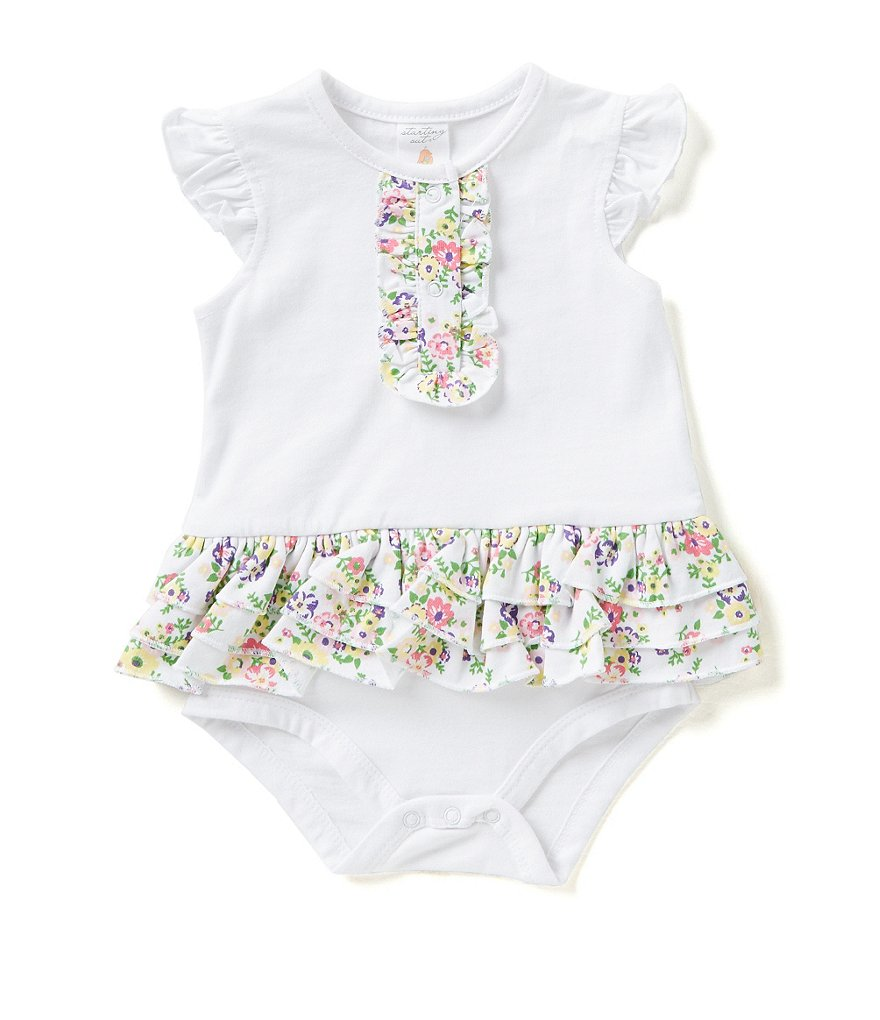 Starting Out Baby Girls Newborn-9 Months Floral Ruffle Detailed Bodysuit