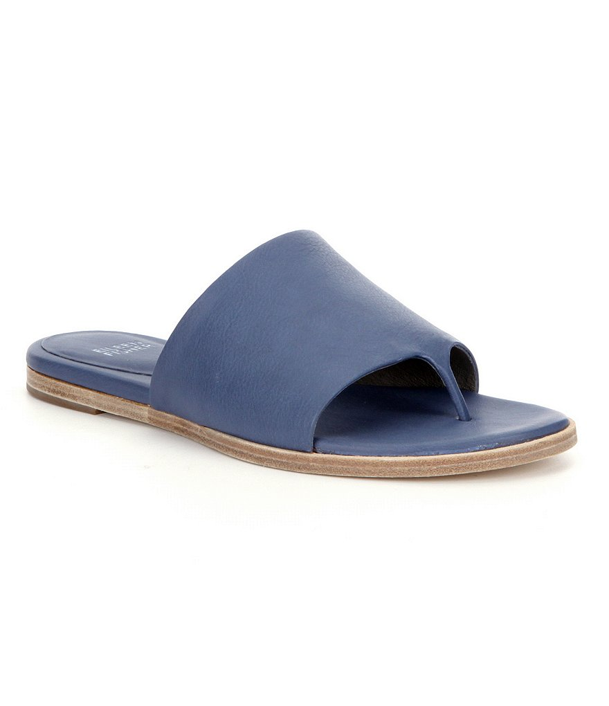 Eileen Fisher Edge Soft Leather Slip-On Sandals
