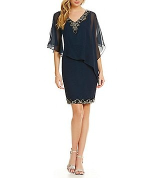 Jkara Petite V-Neck Beaded Asymmetrical Capelet Dress