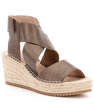 Eileen Fisher Willow Tumbled Leather Criss Cross Banded Wedge Espadrilles