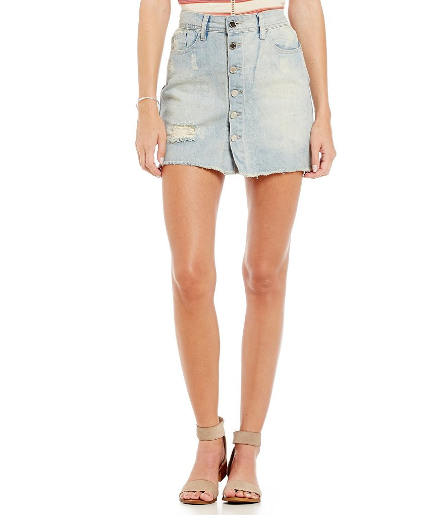 YMI Jeanswear Button-Front Distressed Denim Skirt