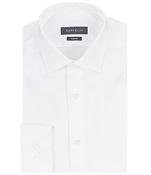 Perry Ellis Non-Iron Slim-Fit Spread-Collar Stretch Twill Dress Shirt