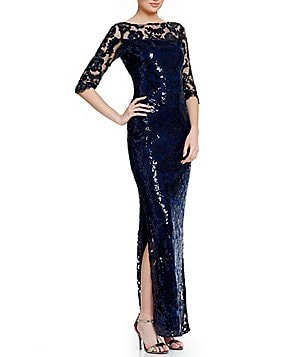 Calvin Klein Embroidered Sequin Gown