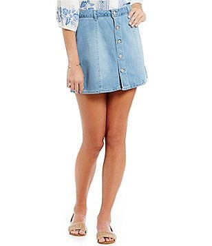 Celebrity Pink Button-Front A-Line Denim Skirt