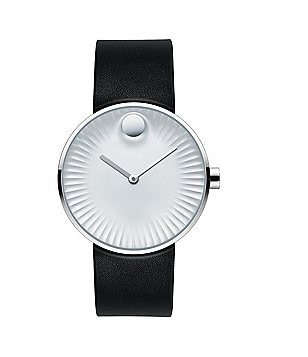 Movado Bold Edge Black Leather Strap Watch