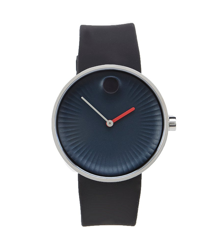 Movado Bold Edge Blue Dial Black Rubber Strap Watch