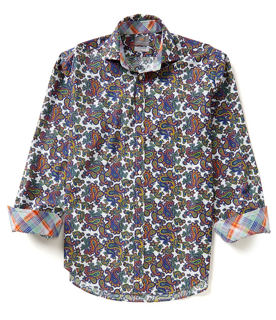 Thomas Dean Long-Sleeve Repeating Paisley Woven Shirt