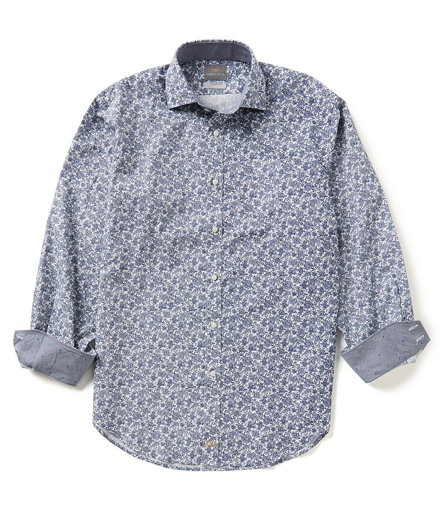 Thomas Dean Long-Sleeve Repeating Floral Print Woven Shirt