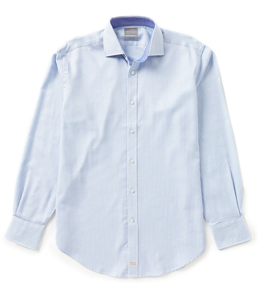 Thomas Dean Long-Sleeve Dobby Print Woven Shirt