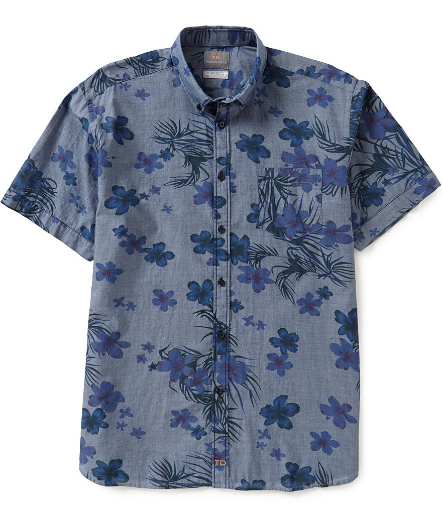 Thomas Dean Short-Sleeve Denim Print Woven Shirt