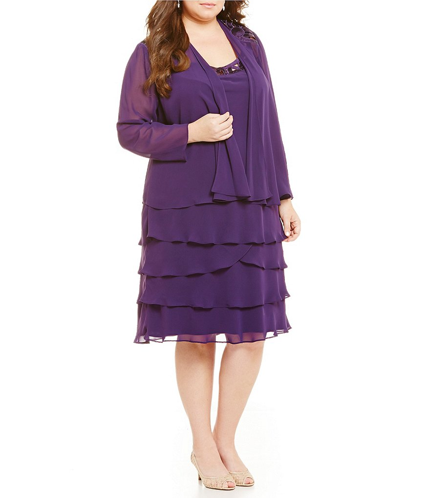 S.L. Fashions Plus Cut-Out Tiered Jacket Dress