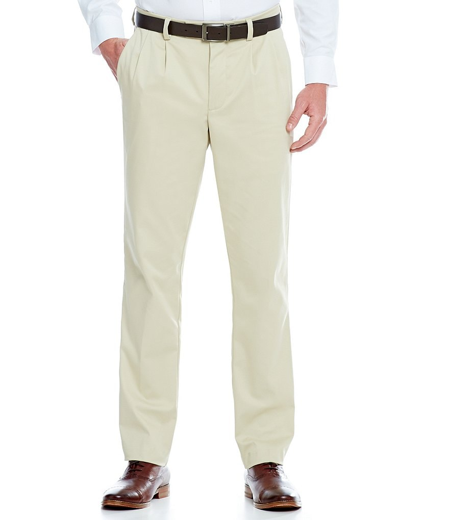 Roundtree & Yorke Straight-Fit Pleated Chino Pants