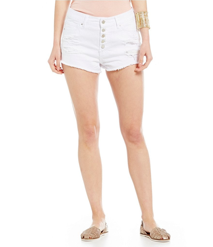 YMI Jeanswear Distressed Exposed-Button Denim Shorts