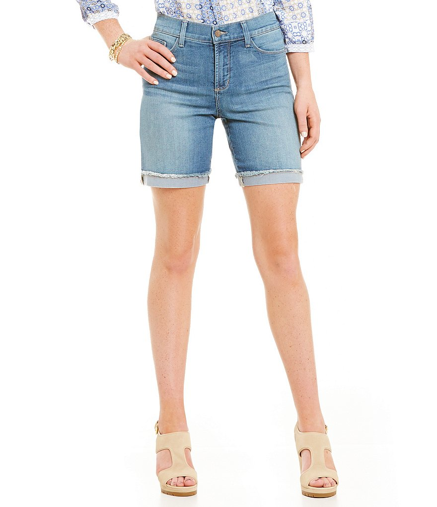 NYDJ Anna Roll-Cuff Fray Edge Shorts