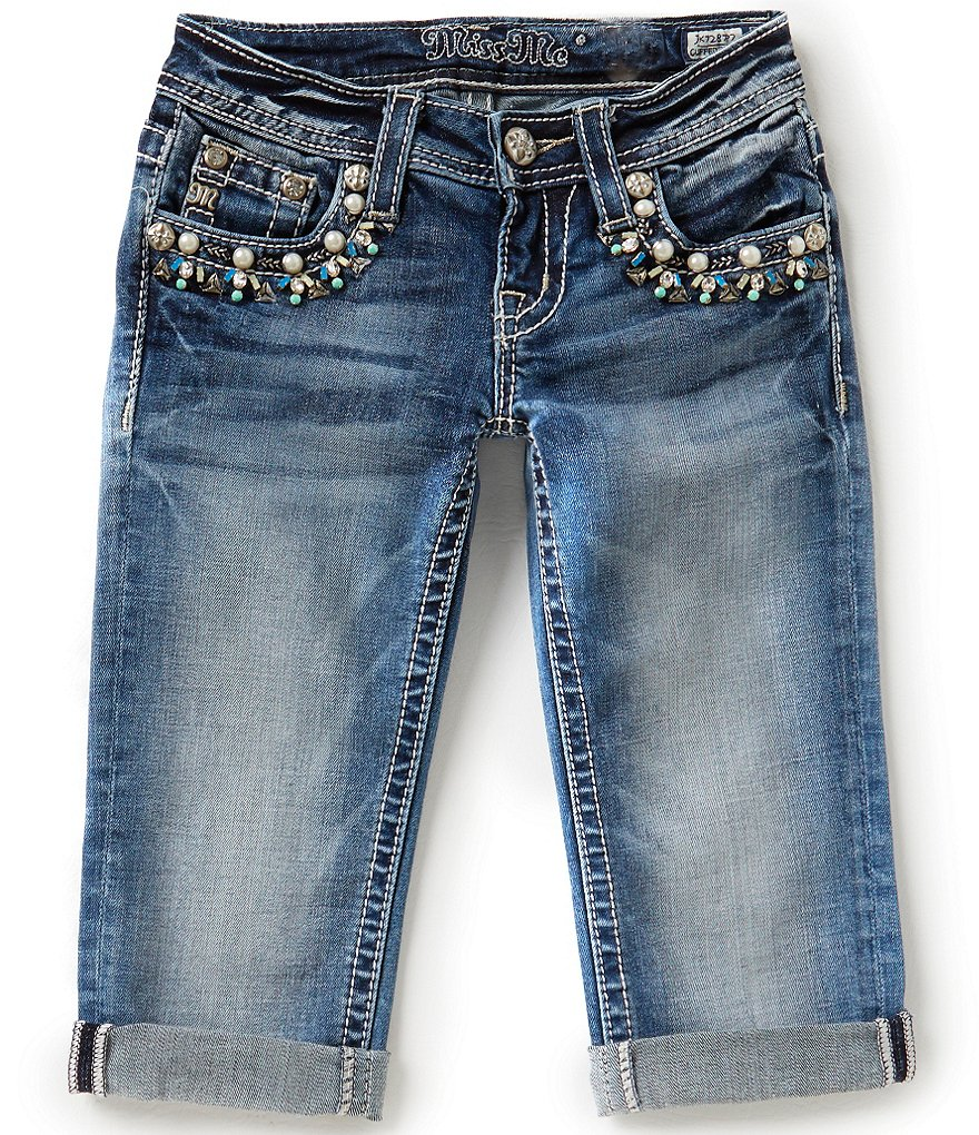 Miss Me Girls Big Girls 7-16 Bejeweled Front Pocket Capris