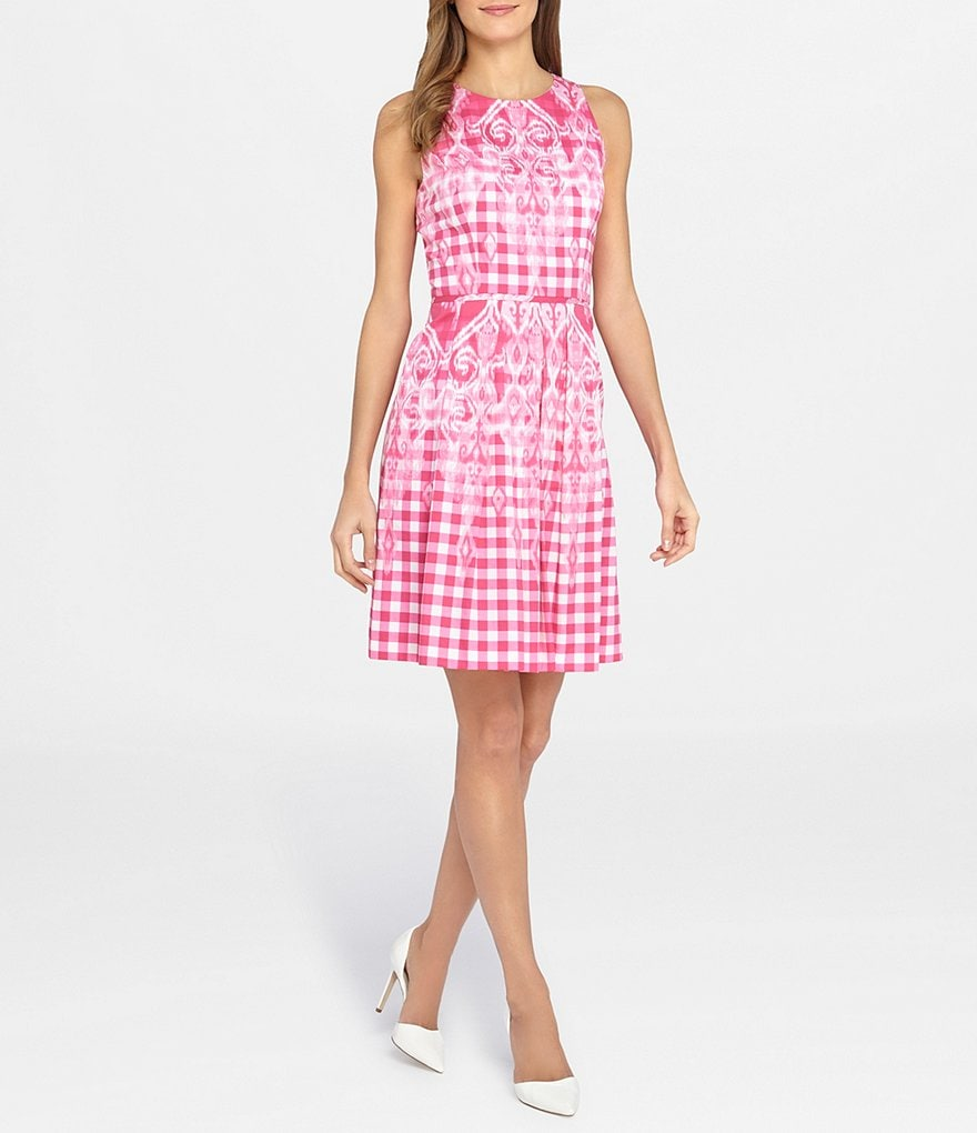 Tahari ASL Gingham-Print Sateen Fit-and-Flare Dress