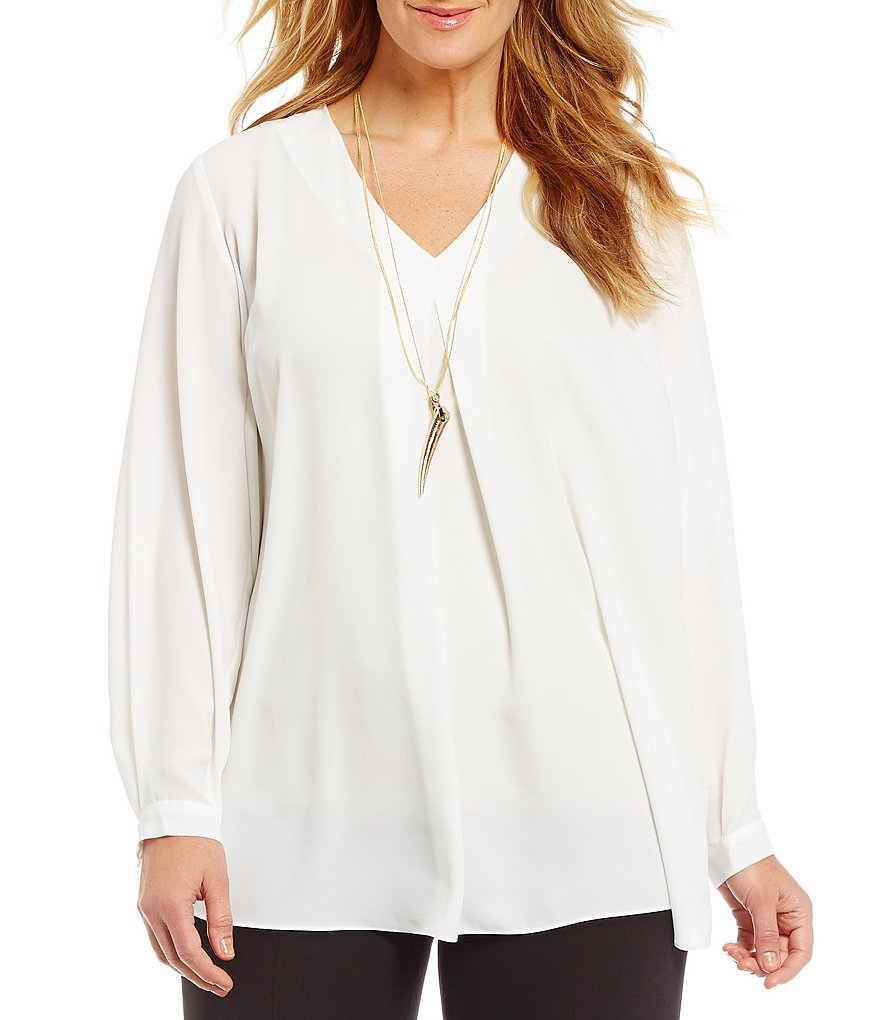 Vince Camuto Plus Inverted Pleat Blouse
