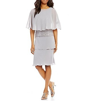 S.L. Fashions Lace Tiered Chiffon Capelet Dress