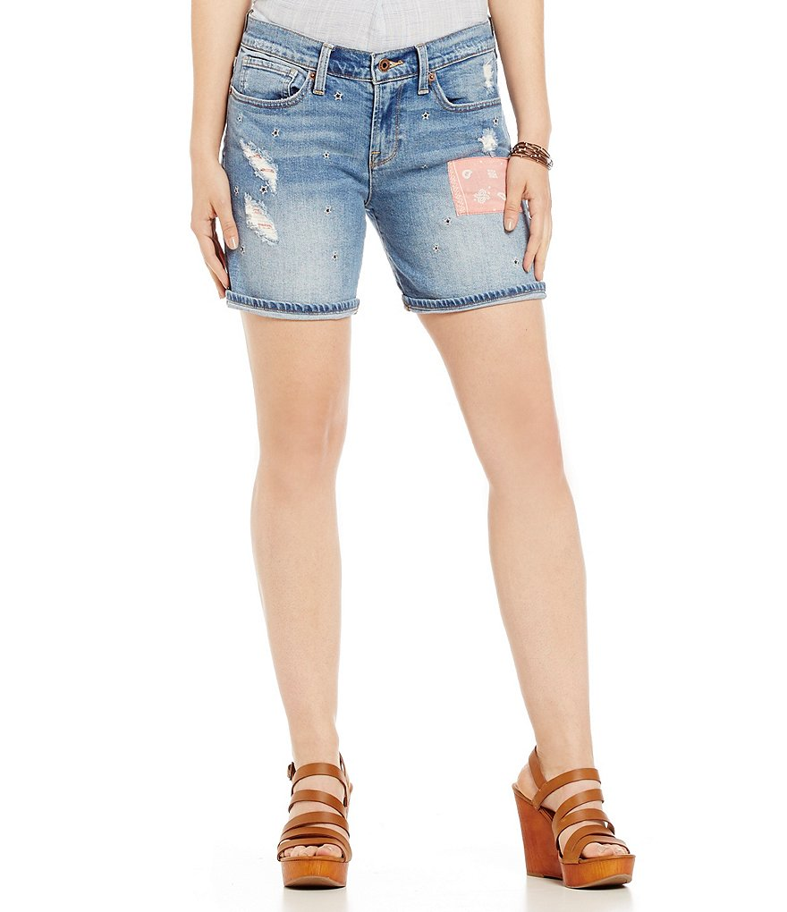 Lucky Brand Bandana Backing and Patches Denim Roll-Up Shorts