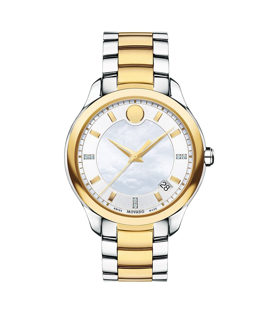 Movado Bellina Two-Tone Stainless Steel Diamond Swiss Quartz 3 Hand Watch