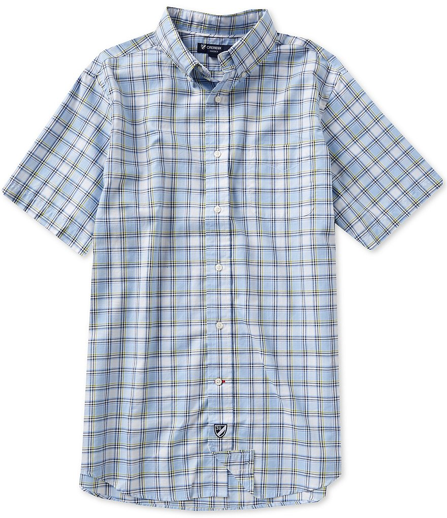 Cremieux Short-Sleeve Plaid Oxford Shirt