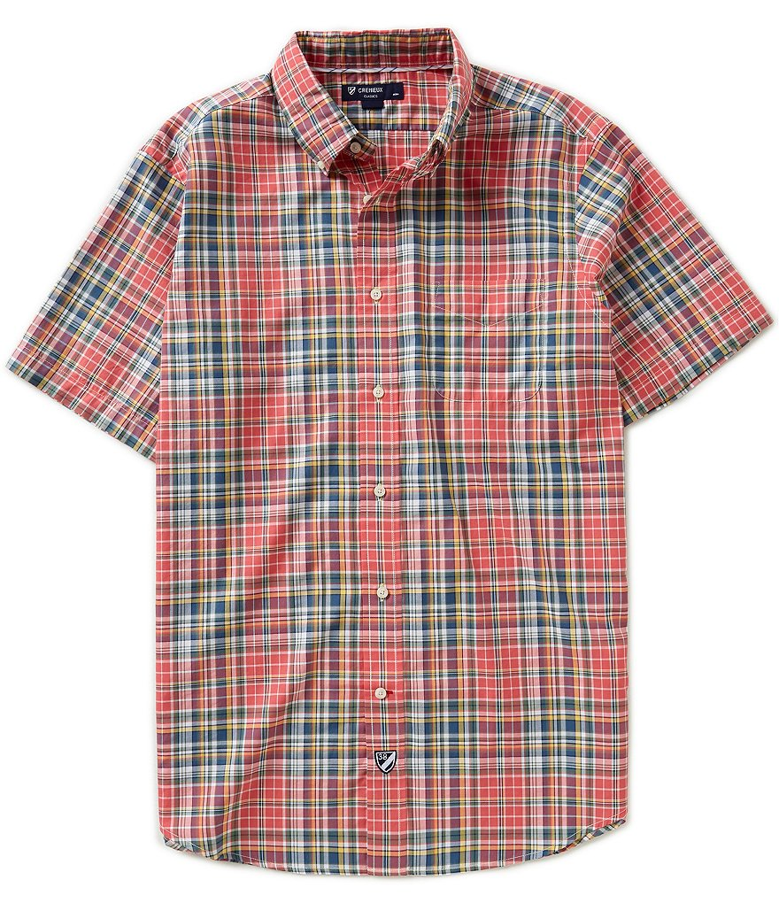 Cremieux Short-Sleeve Plaid Oxford Woven Shirt