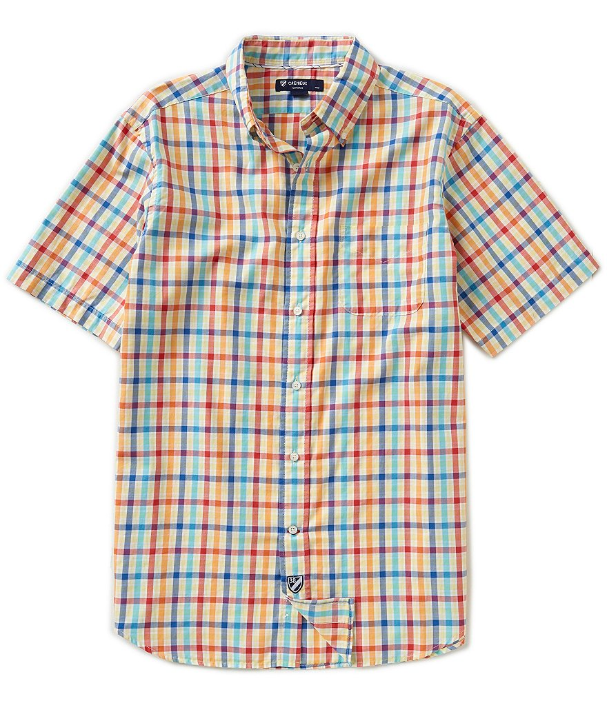 Cremieux Short-Sleeve Large Check Oxford Woven Button-Down Shirt