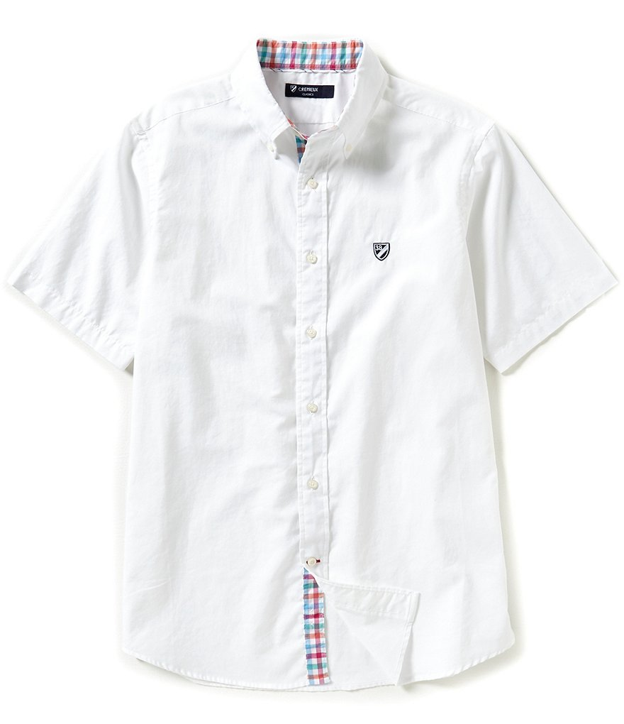 Cremieux Short-Sleeve Solid Oxford Woven Shirt