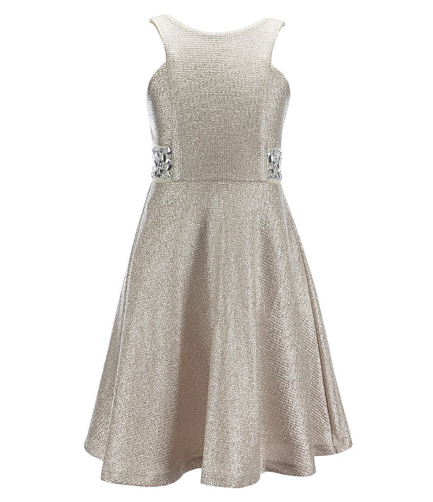Rare Editions Big Girls 7-16 Metallic Gemstone Dress