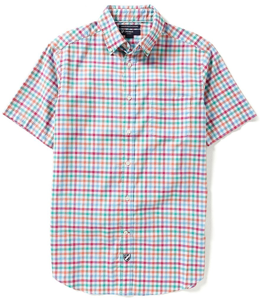 Cremieux Short-Sleeve Slim-Fit Gingham Oxford Woven Shirt
