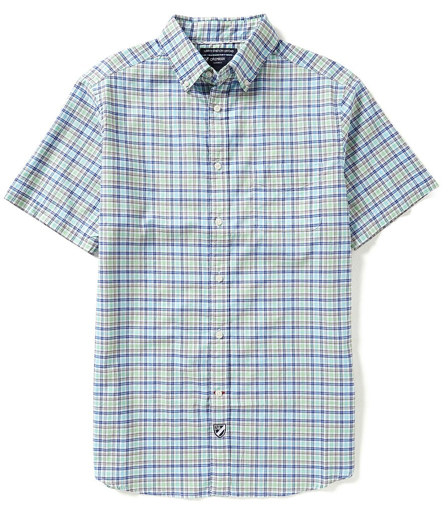 Cremieux Short-Sleeve Slim-Fit Graph Oxford Woven Shirt