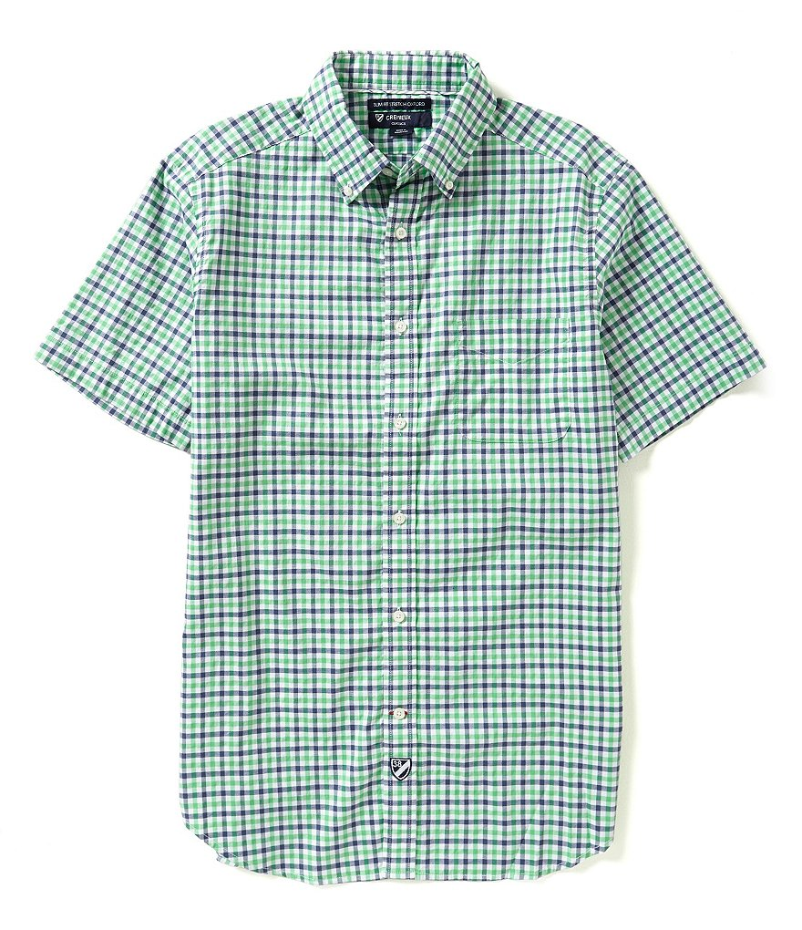 Cremieux Slim-Fit Short-Sleeve Graph Oxford Shirt