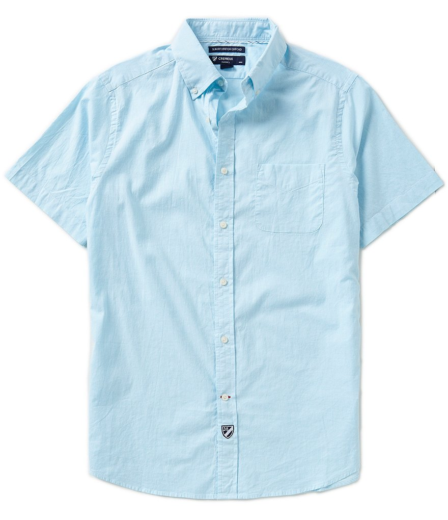 Cremieux Short-Sleeve Slim-Fit Stripe Woven Shirt