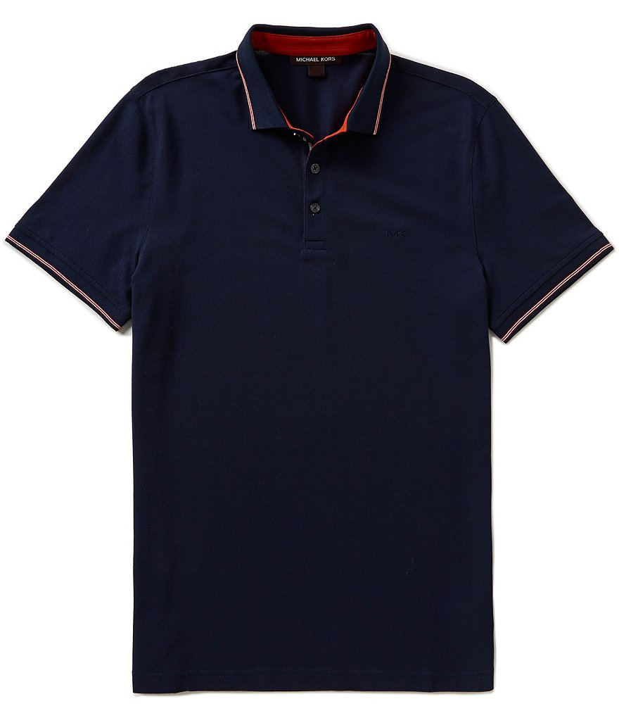 Michael Kors Short-Sleeve Tipped Ribbon Polo Shirt