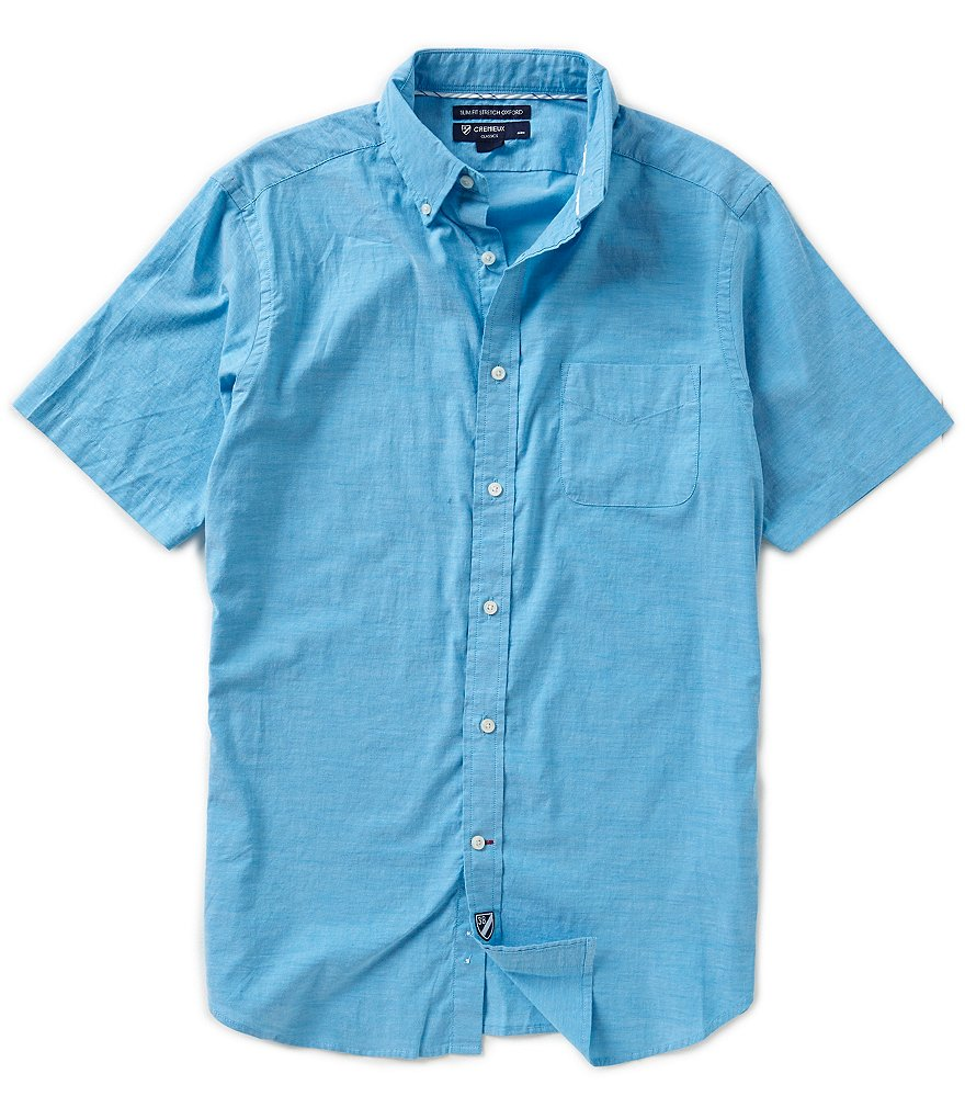 Cremieux Short-Sleeve Slim-Fit Solid Oxford Woven Shirt