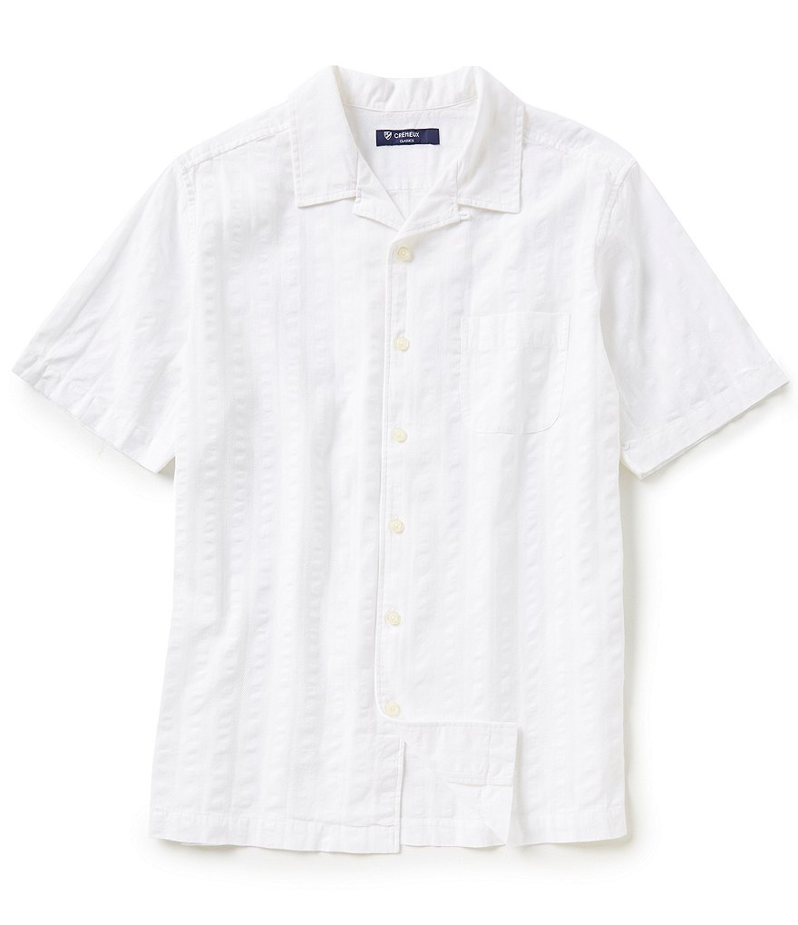 Cremieux Short-Sleeve Solid Dobby Woven Shirt