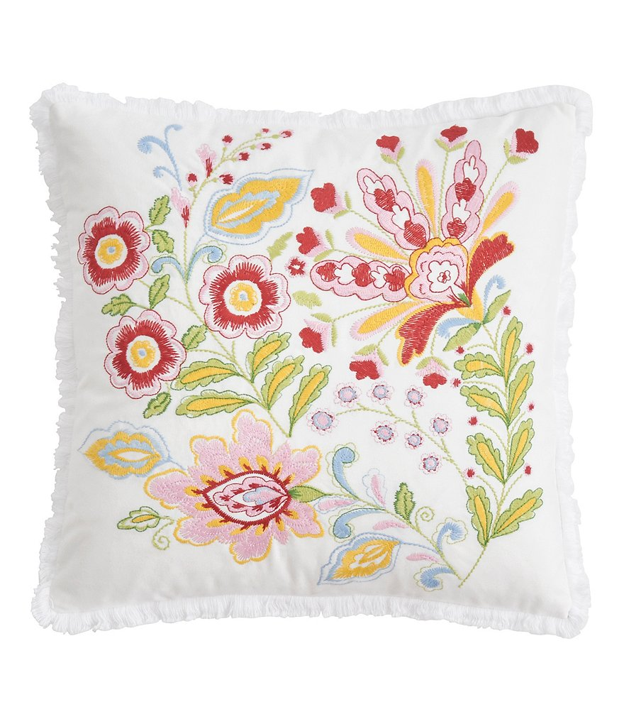 Dena Home Santana Floral Embroidered Pillow