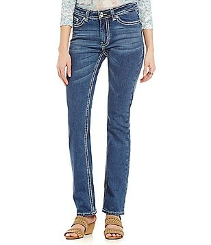 Reba Jayden Embroidered Applique Straight Jeans
