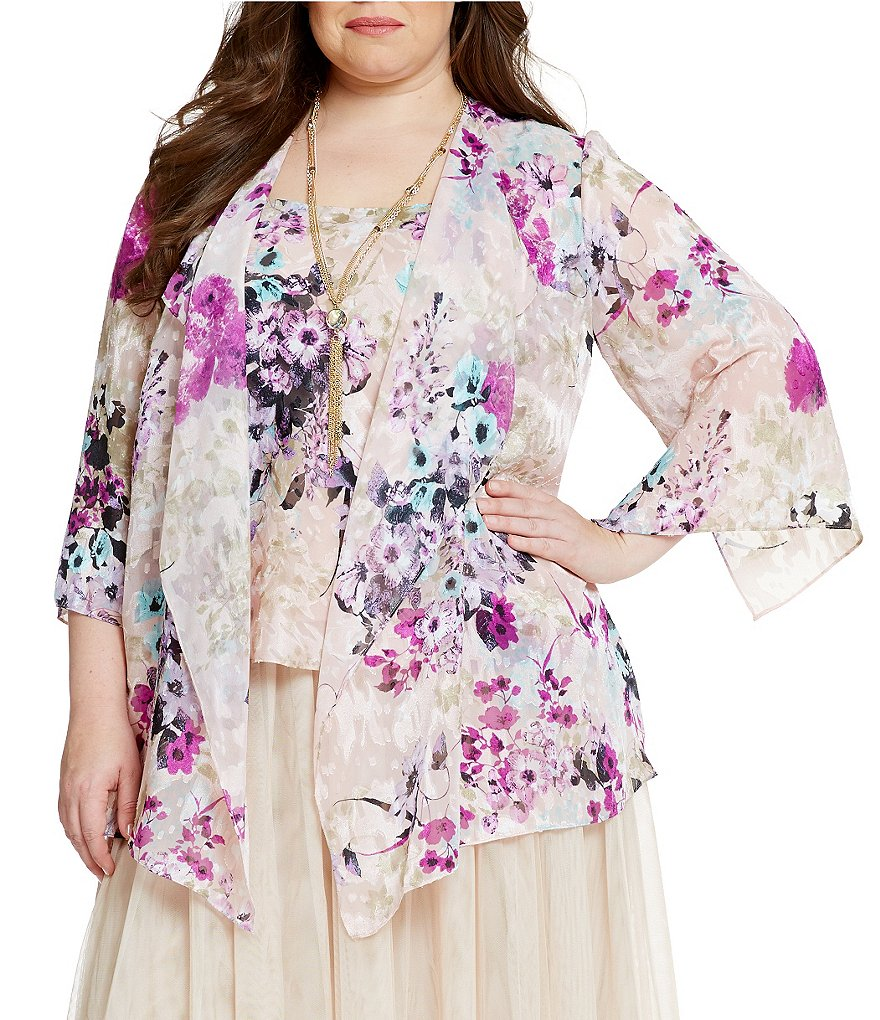 Alex Evenings Plus 3/4 Sleeve Printed Twinset