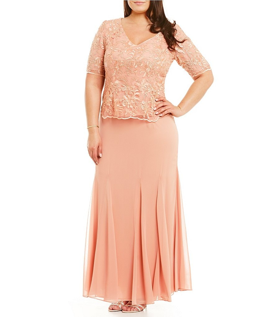 Alex Evenings Plus V-Neck Embroidered Lace Mock Gown