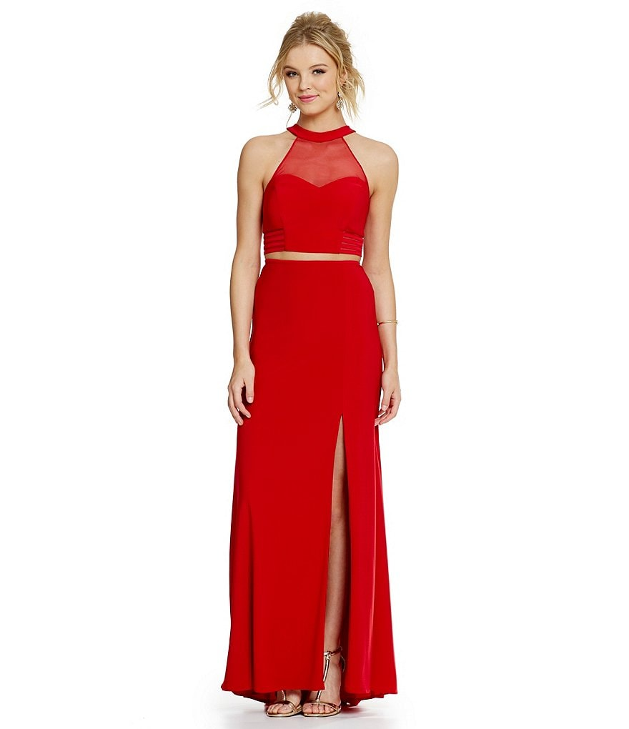 Morgan & Co. Crop-Top Two-Piece High Neckline Banded Sides Gown