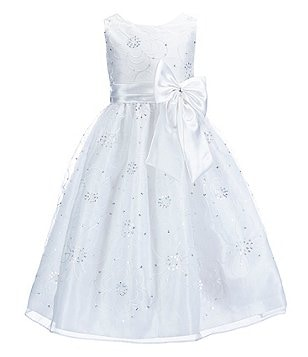 Jayne Copeland Big Girls 7-12 Sequin-Embellished Floral-Embroidered Organza-Overlay Dress