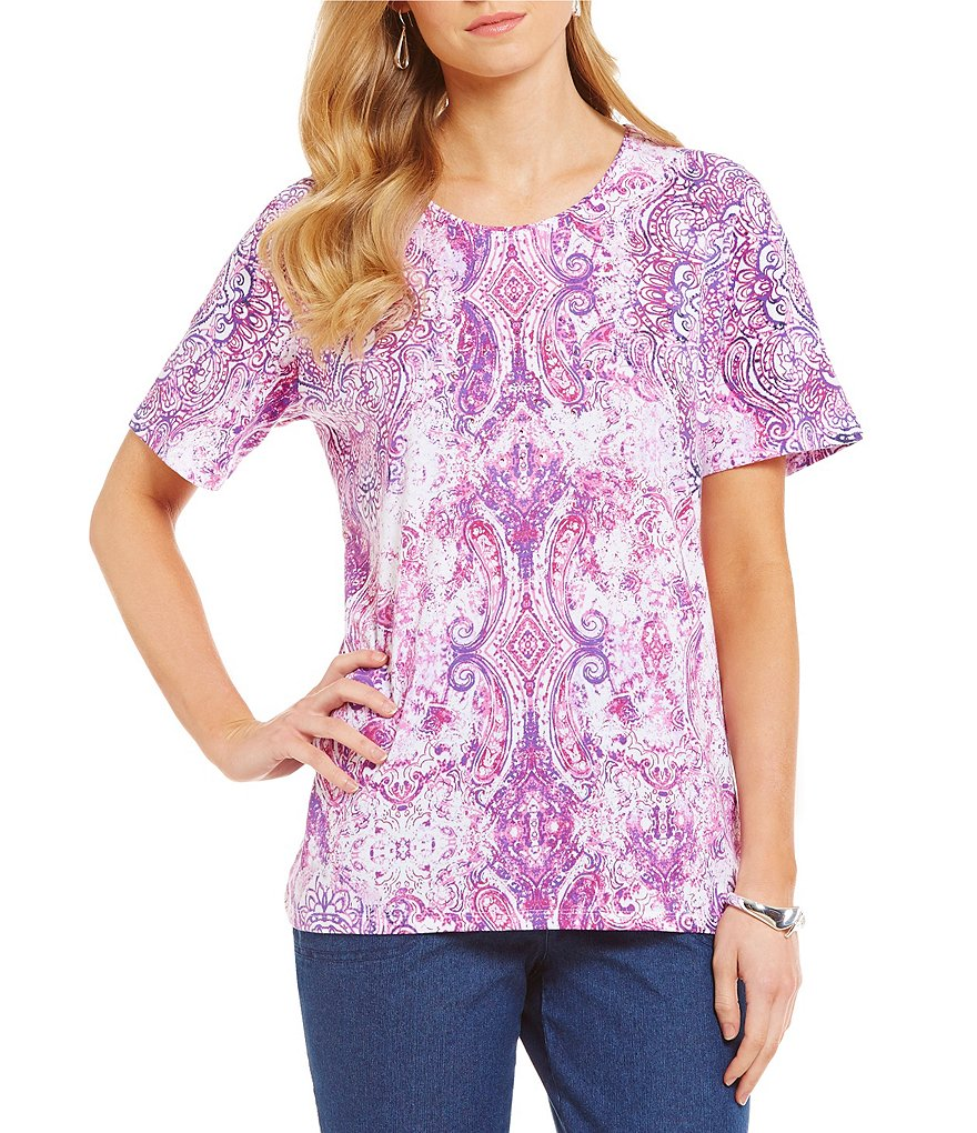 Allison Daley Medal Print Embellished-Neck Short Sleeve Knit Top