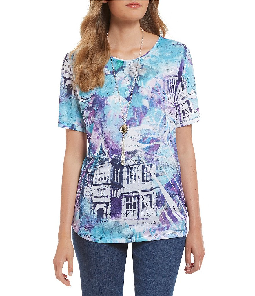 Allison Daley Embellished Wide Crew-Neck Short Sleeve Printed Knit Top