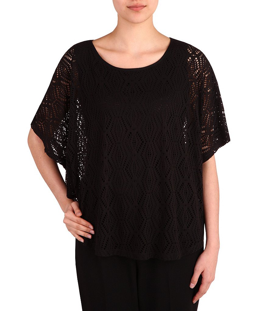 Allison Daley Honeycomb Crochet Knit Short-Sleeve Poncho