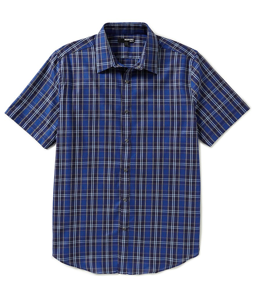 Murano Plaid Slim-Fit Snap-Front Sportshirt