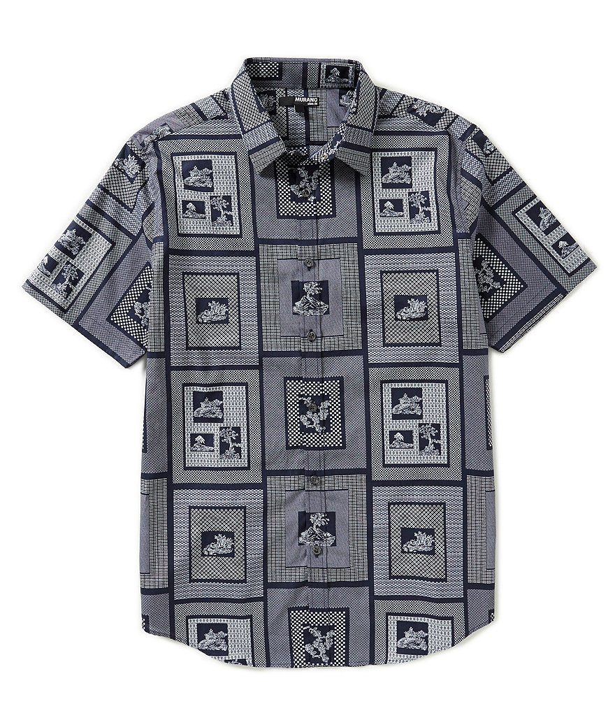Murano Geometric Print Short-Sleeve Slim-Fit Sportshirt